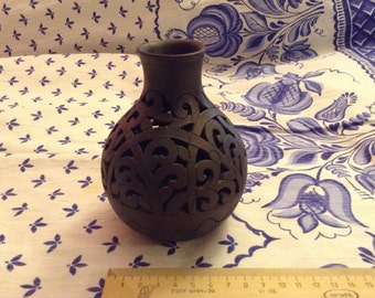 Ceramic Candleholder in the Shape of a Carved Vase