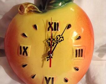 "Hand Made Ceramic Wall Clock ""Apple""."