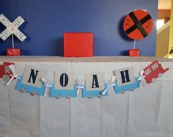 Train Banner, Train Name Banner, Choo Choo Banner, Choo Choo Name Banner, Train Birthday, Red and White and Blue