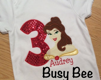 Appliqued Belle Birthday Shirt