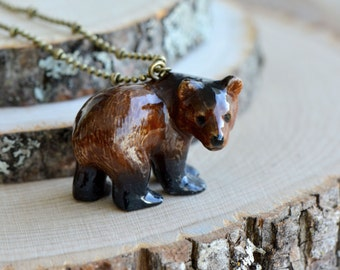 Hand Painted Porcelain Grizzly Bear Necklace, Antique Bronze Chain, Vintage Style Brown Bear, Ceramic Animal Pendant & Chain (CA027)