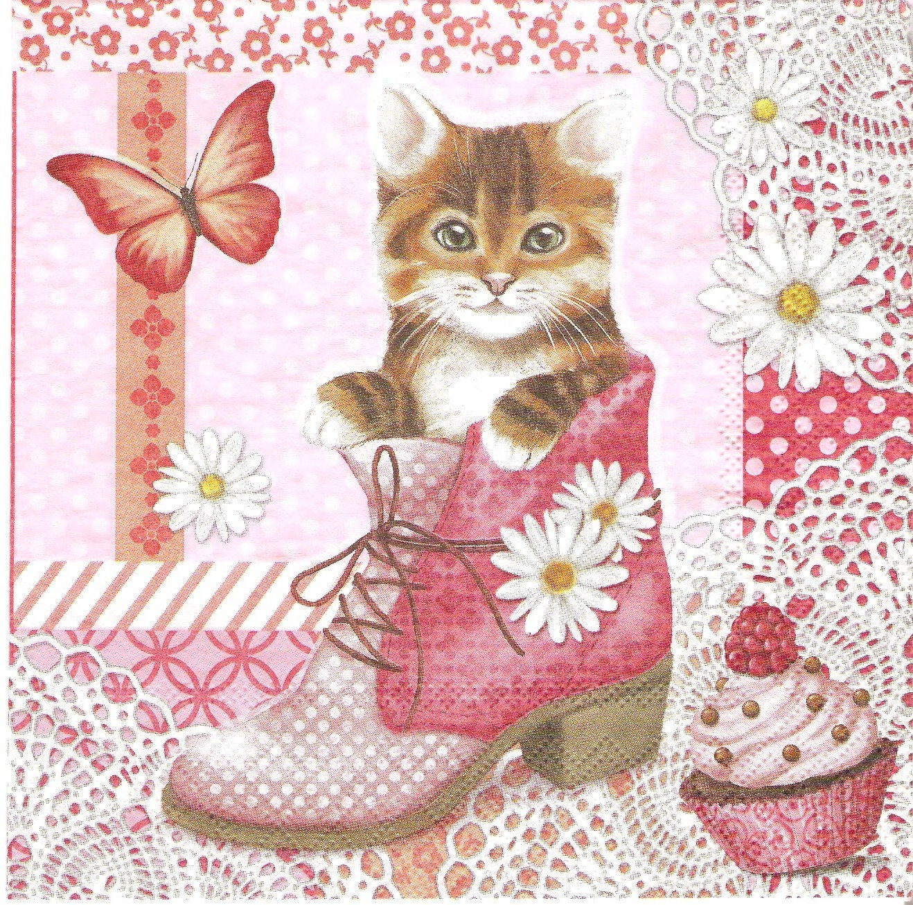 Cat In Shoe Decoupage Paper Napkins 4 Paper Napkins For