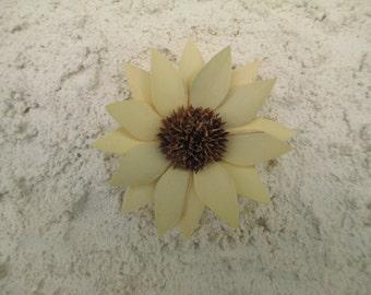 Handmade - Balsa Flower on Stucco - Wall Decor - Unique Texture