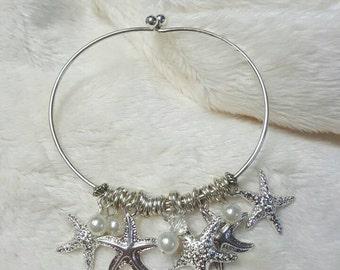 Starfish & Pearl Charm Bracelet in Silver