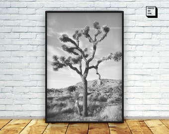 Joshua tree print, black and white photography, joshua tree printable, joshua tree wall art, desert print, digital art print, california