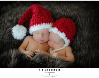Baby Holiday Hats, Red and White, Twin, Made to Order
