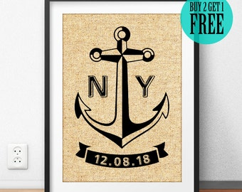 Personalized, Anchor Prints, Burlap Print, Engagement, Wedding Gift, Housewarming Gift, Anniversary Gift,  Rustic Home Decor, Wall Art, CM39