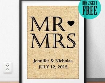Mr Love Mrs, Burlap Print, Love Prints, Personalized, Wedding Gift, Anniversary Gift, Rustic Home Decor, Wall Decor, Housewarming Gift, CM59