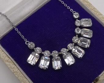 Vintage 1950's Clear Foil backed paste Necklace