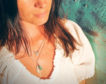 Boho Charm Necklace, Layering Necklace, Real Turquoise, handmade, Gifts for her