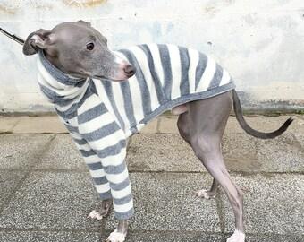 Horizontal stripe long sleeves T-shirt for Italian Greyhound [WHITE/GRAY]