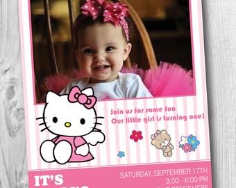 Printable Hello Kitty Birthday Invitation for all AGES! Personalized Hello Kitty Birthday Invitation, Custom Hello Kitty Invitation