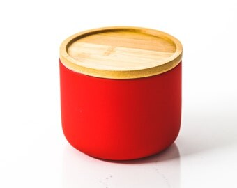 Red Ceramic Candle with Wooden Lid
