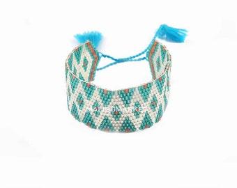Japanese beads turquoise Cuff Bracelet