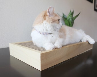 Modern Cat Furniture | Wood | Pet Bed | Replacable Scratcher