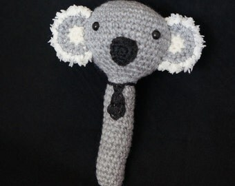 Koala Rattle with tie, handmade crochet Aussie gift for babies
