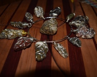 Wire wrapped natural stones