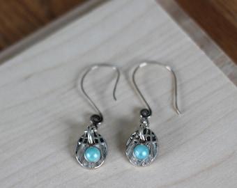 Silver Drop Earrings with Light Sky Blue Bead- Metal, Pendant, Oval, Dangle