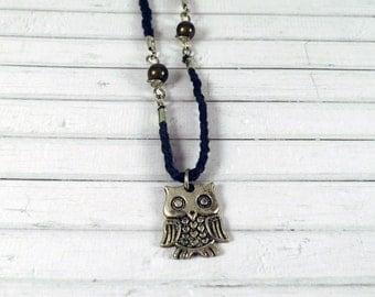 Owl Necklace, Pendant Necklace, Cord Necklace, Woodland Necklace, Bead Necklace, Indie Necklace, Animal Necklace, Owl Jewellery