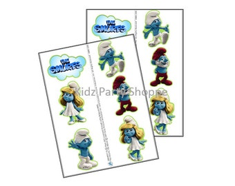 12ct SMURFS Temporary Tattoos Smurfette Birthday Party Treat Bags Favors