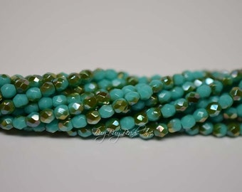 3MM, Green Turquoise Celsian, Round Faceted, Fire Polished Czech Glass Beads - 50 Beads