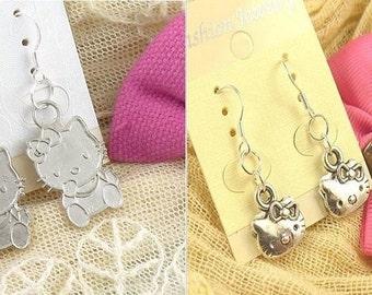 Hello Kitty Dangle Earrings ~ Silver Plated (Set of 2)