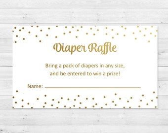 Diaper Raffle Ticket, White And Gold Diaper Raffle Ticket, Gold Diaper Raffle Insert, Confetti Diaper Raffle Insert