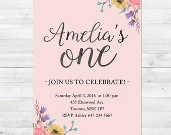 First Birthday Invitation, Girl Birthday Invitation, Floral Birthday Invitation