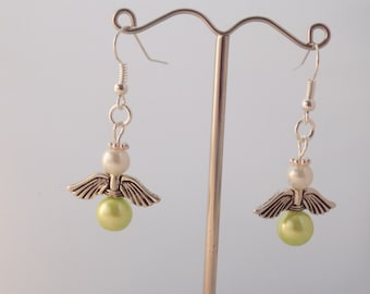 Handmade Lime Green Non Hodgkins Lymphoma Awareness Gaurdian Angel Earrings
