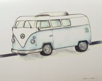 Blue Volkswagen Bus Drawing Print