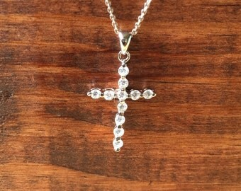 Beautiful Sterling Silver .925 Cross with CZ Cubic Zirconia Necklace Set 16inch Chain