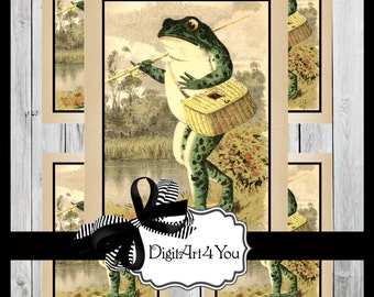 Digital Collage/Frog/Fishing/Boy/Boy's/Kid/Kid's/Happy/Clip Art/Digital Download/Vintage Art/Supplies/Inchies/Dominoes/Retro/Collage