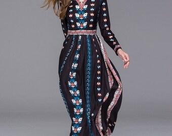 Maxi Dress Long Sleeve V-Neck Floral Print
