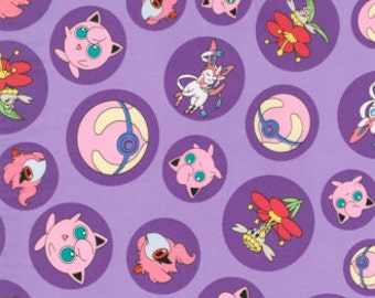 Jigglypuff Pokemon Fabric, Yardage or Fat Quarters, FQ, Fairy Type Pokemon, Sylveon, Flabebe, Spritzee, Pokemon Go Fabric, Fairy Ball Purple
