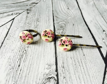 Rose button Ring and Bobby Pin Set