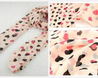Pink Chiffon Heart Scarf