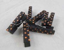Mini Wooden Clothes Pin Embellishments black orange dots clothespins polka dot polka-dot black clothespin