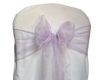 Lilac Organza Chair Sash Bow Wedding Venue Decoration