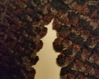 Black and Brown Crocodile crocheted scarf