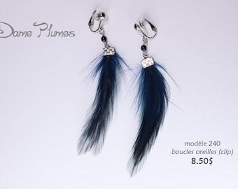 Earrings feathers earrings (clips )
