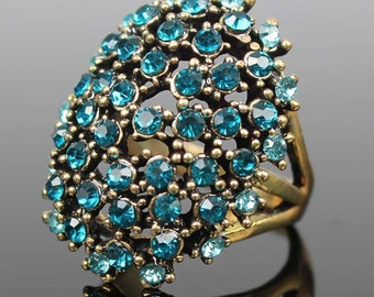 Vintage style multi crystal ring(Turquoise)