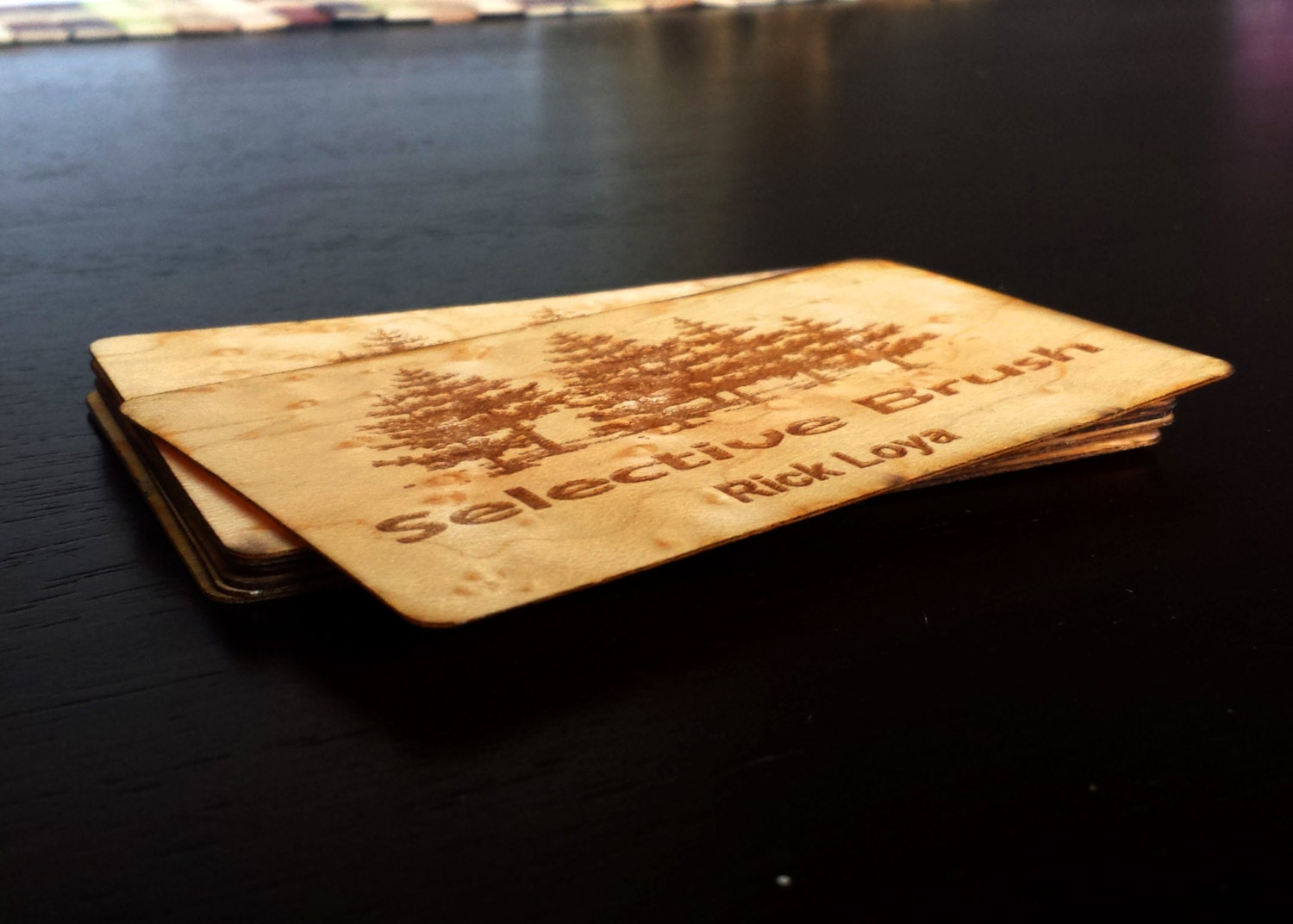 Wood business cards double sided business cards laser engraved for Laser etched business cards