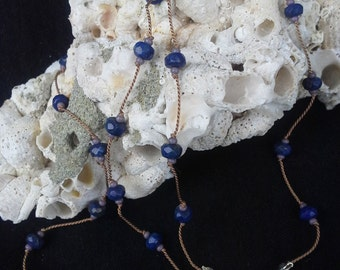 Lapis Lazuli Hand Knotted Silk Necklace