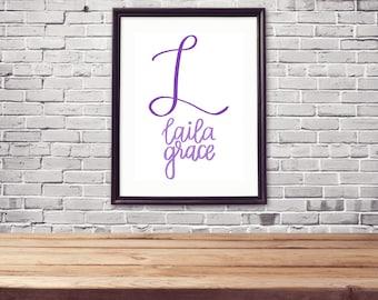 Custom Baby Girl Name Cardstock Print