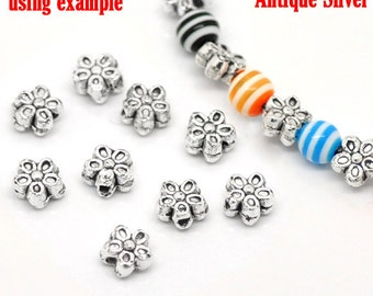 50 Antique Silver Flower Spacer Beads 7mm (B2)