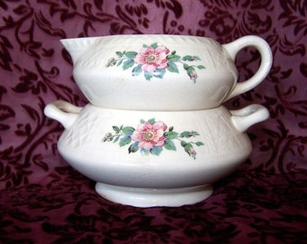 HOMER LAUGHLIN Creamer Trellis Cream Pitcher and Sugar Bowl Pink Roses Floral Discontinued 1930s Wedding Decor