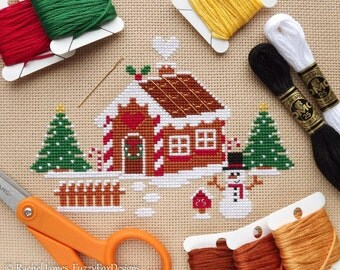 Christmas Gingerbread House Cross Stitch Pattern PDF | Easy | Modern | Beginners Counted Cross Stitch | Instant Download