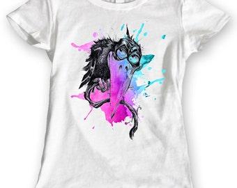 Watercolor Rainbow Crow T-shirt 100% Cotton Ladies Gift Idea