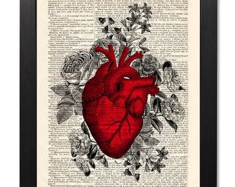 Anatomical red heart flowers print, Anatomical heart print, Flower print, Art print, Illustration print, Valentines gift [ART 117]
