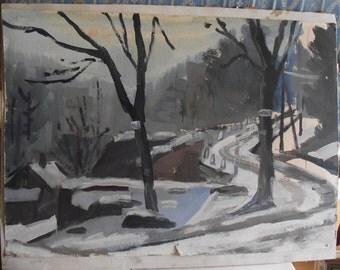 Dana Sokolova, born 1929, Zima or Winter,  Hradec Kralove, Czech Republic, tempera on paper